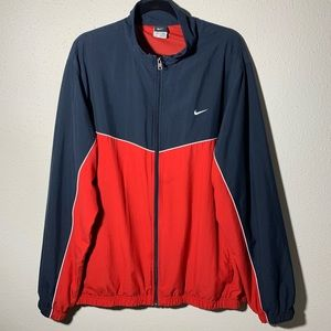 NIKE Mens XXL Red Black Panel Mesh Lined Windbreak